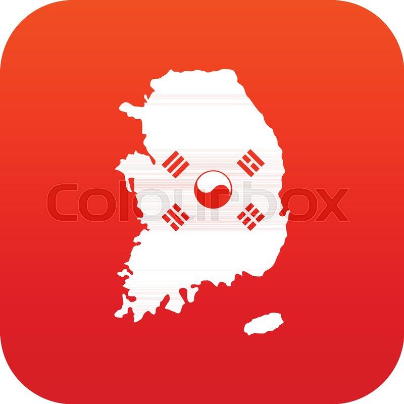 South Korea map with national flag ... | Stock vector | Colourbox on