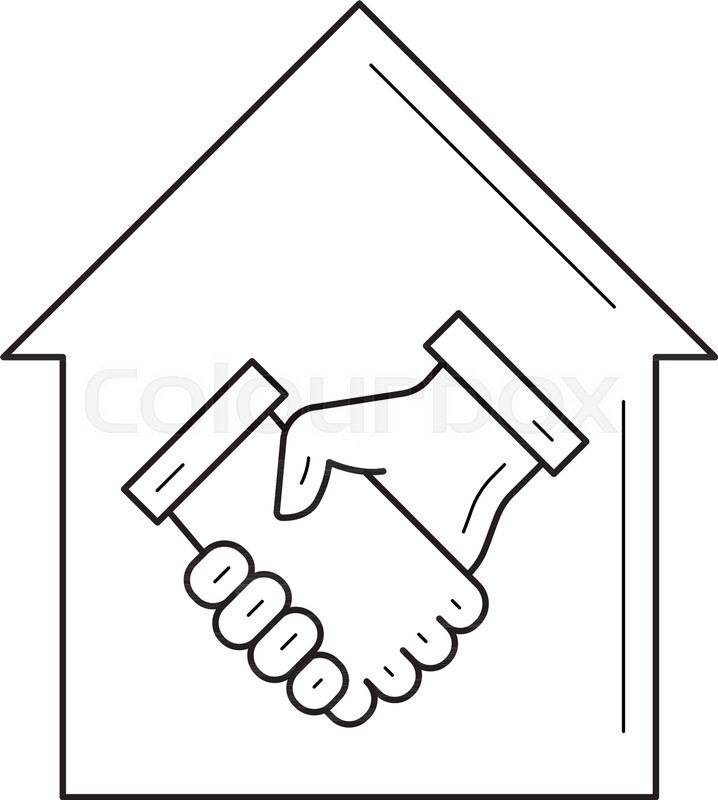 Real Estate Agreement Vector Line Icon Isolated On White Background