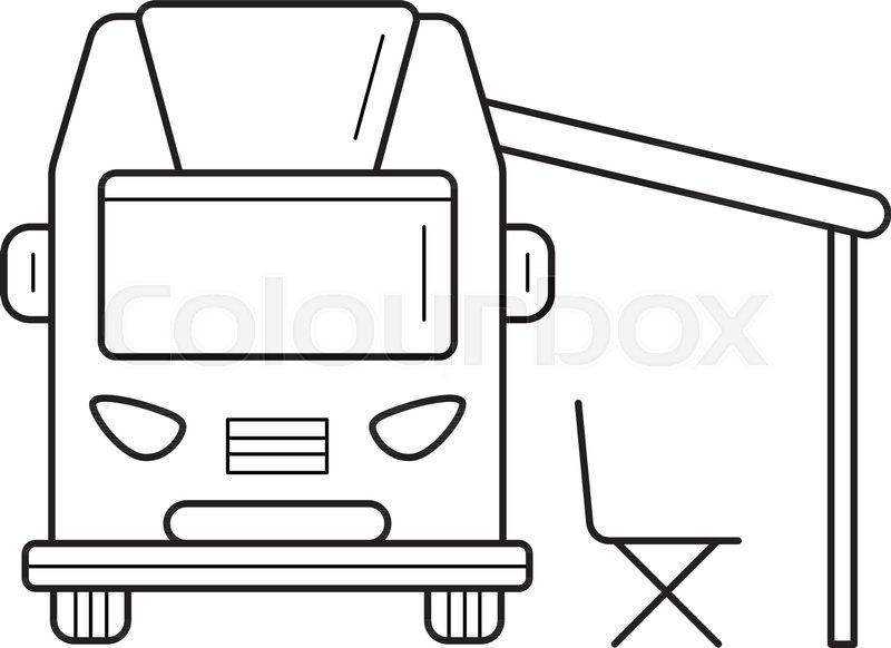RV Camping Motorhome Vector Line Icon Isolated On White Background Truck For Infographic Website Or App