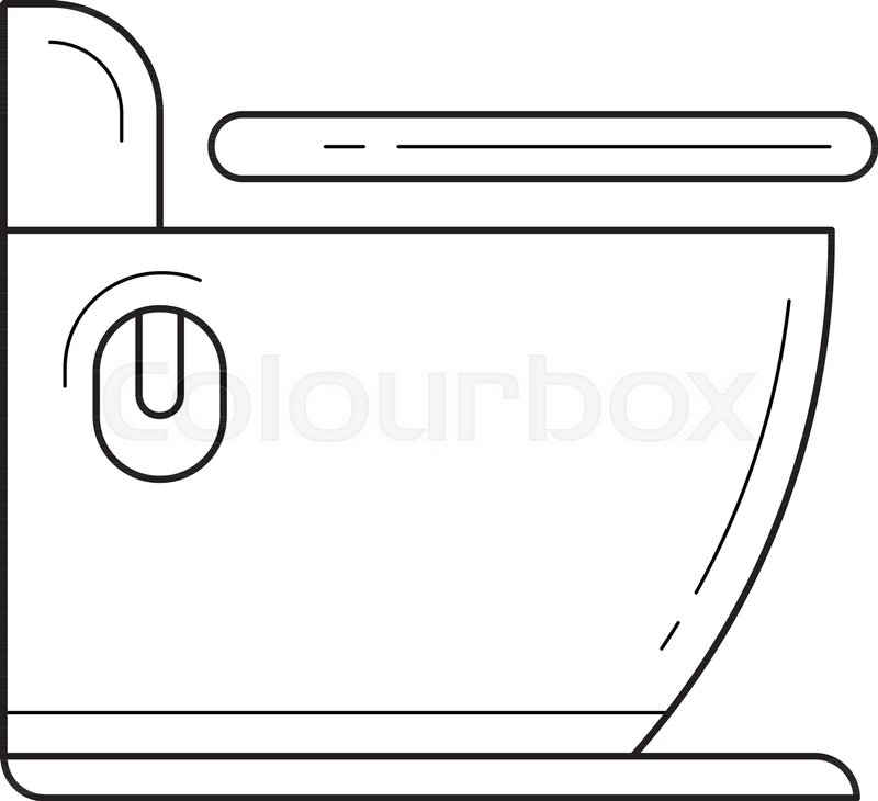 Toilet vector line icon isolated on white background. Toilet line ...