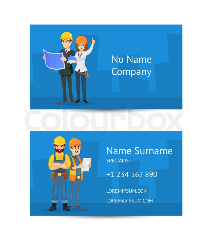 Building company business card layout with construction workers in building company business card layout with construction workers in uniform and safety helmets corporate identity template for professional engineering and reheart Choice Image