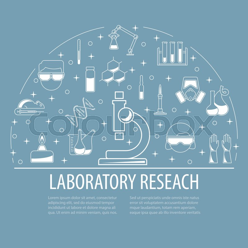 Chemical laboratory template. Science icons composition. Circle ...