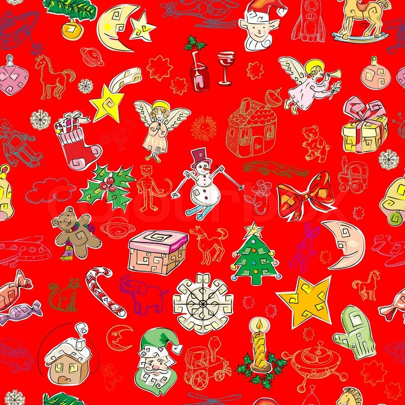 Christmas pattern with toys and season greetings icons on a green ...