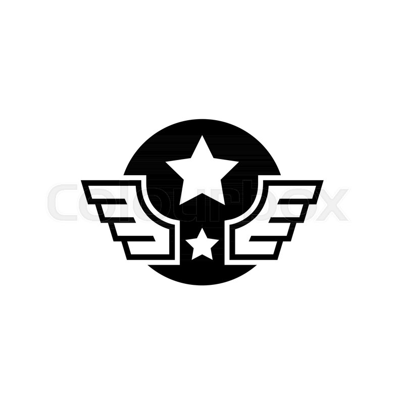 aviation military wings with star flat vector icon simple black rh colourbox com Vector Image of Guitar with Wings Pilot Wings Vector