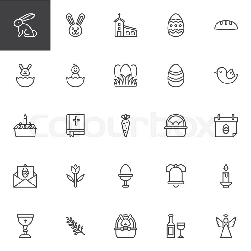 Easter Holiday Outline Icons Set Linear Style Symbols Collection