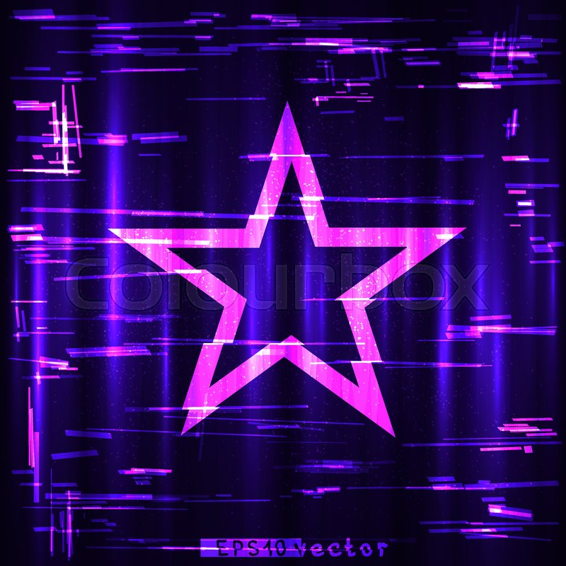 glitch colorful blue purple and pink geometric star shape template