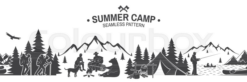 Outdoor Adventure Background For Wallpaper Or Wrapper Seamless Scene With Mountains Bear Dog Girl Man Guitar Sitting Around Campfire