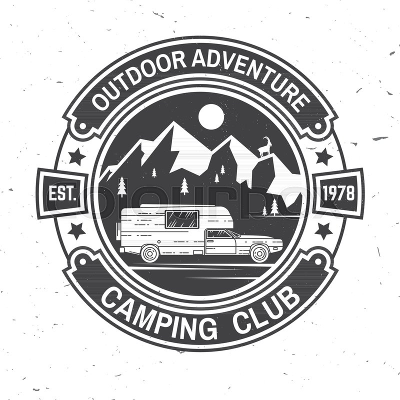 Camping Club Vector Illustration Concept For Shirt Or Logo Print Stamp Tee Vintage Typography Design With Camper Trailer And Mountain Silhouette