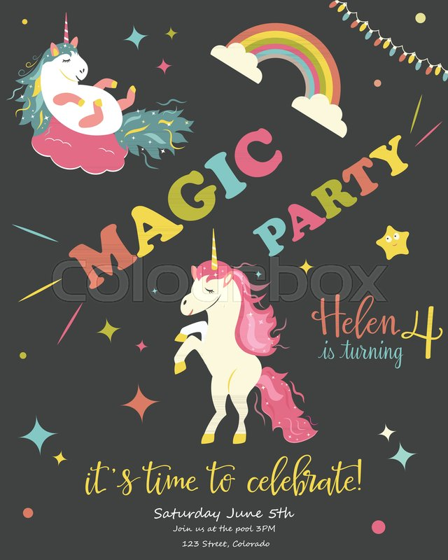 Birthday Party Card With Unicorns Invitation Card Template Stock