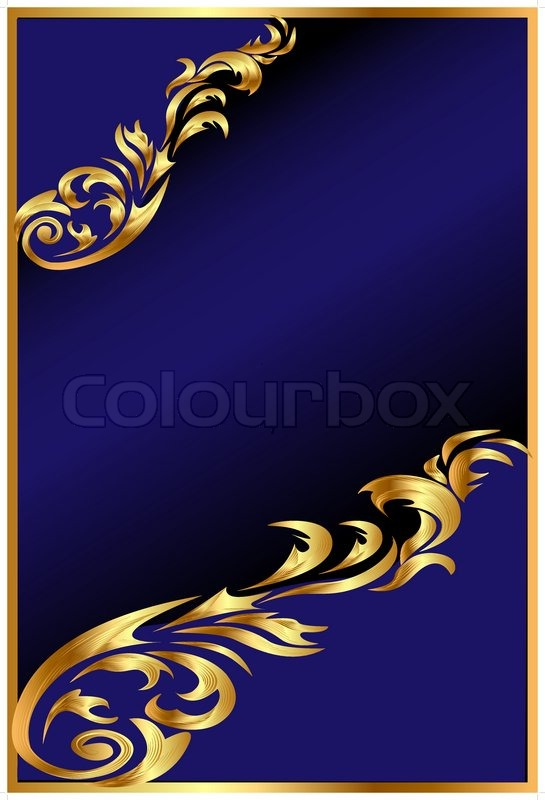Illustration Blue Background With Golden Ornament On Black