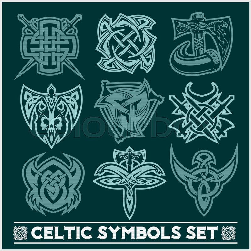 set of celtic symbols icons vector tattoo design set on dark
