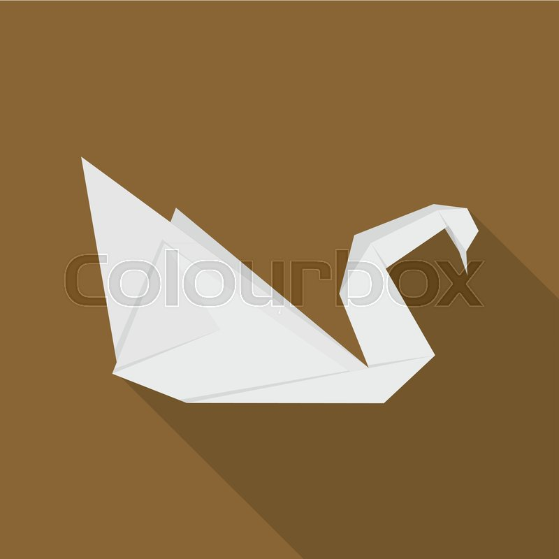 Origami Swan Icon Flat Illustration Of Origami Swan Vector Icon For