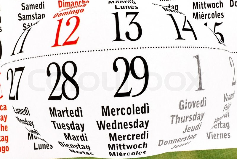 Calendar Of Leap Year February Stock Photo Colourbox