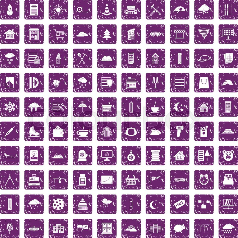 100 Windows Icons Set In Grunge Style Purple Color Isolated On White