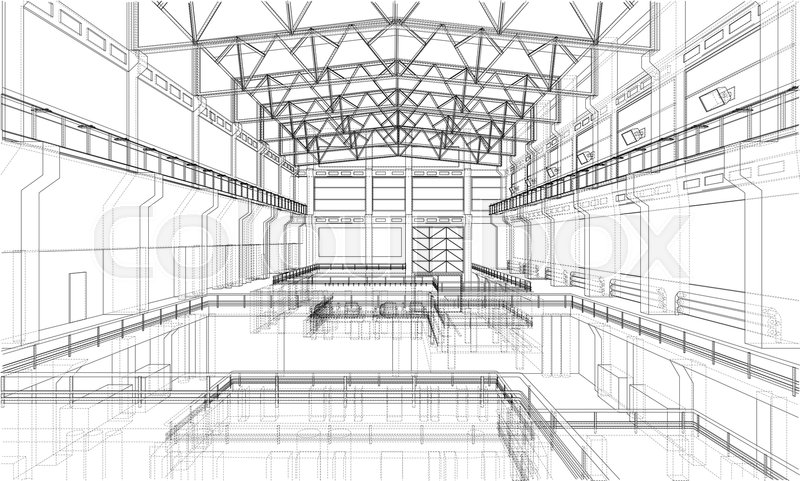 Warehouse sketch or blueprint 3d illustration wire frame style stock image of warehouse sketch or blueprint 3d illustration wire frame style malvernweather Choice Image