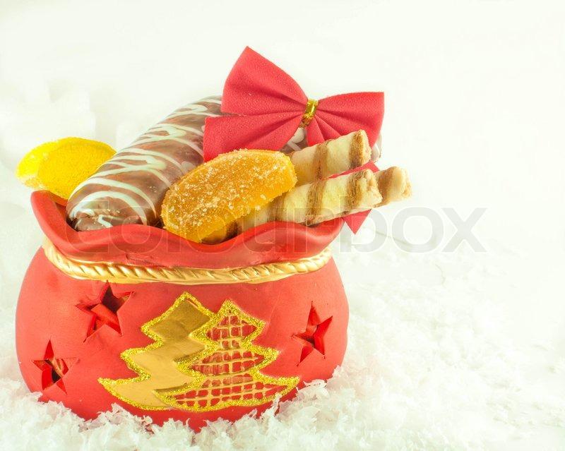 Weihnachten Sack mit Geschenken , Plätzchen und Obst Süßigkeiten ...