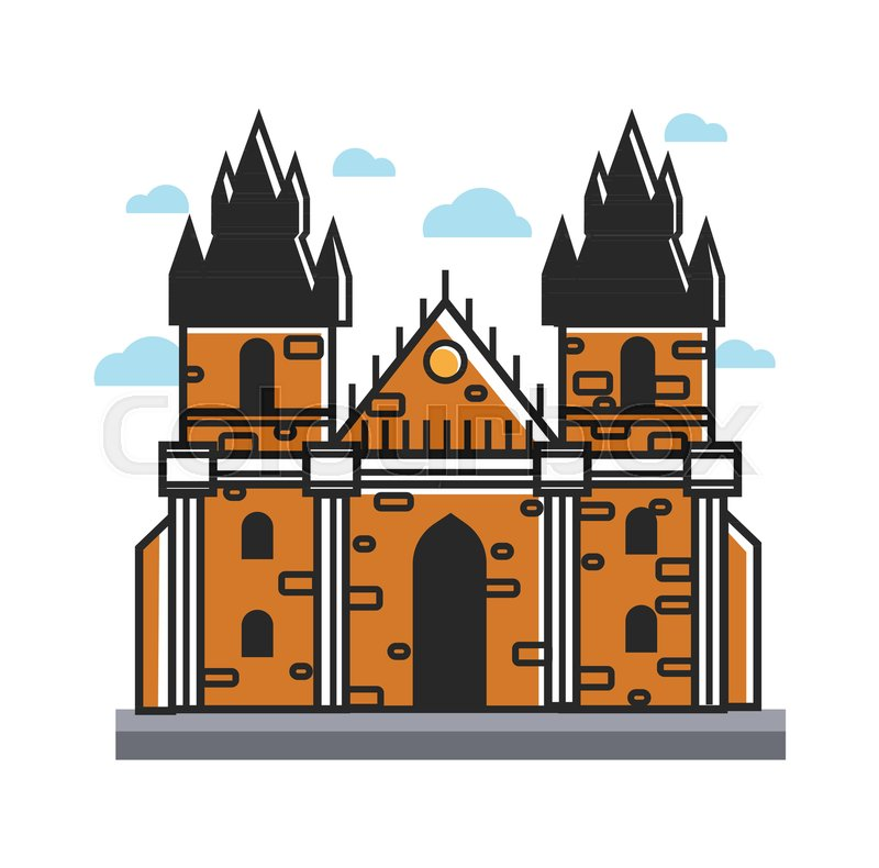Ancient castle from Czech with towers and cone roof built of yellow brick in gothic style. Unique architecture of European country isolated cartoon flat vector illustration on white background, vector