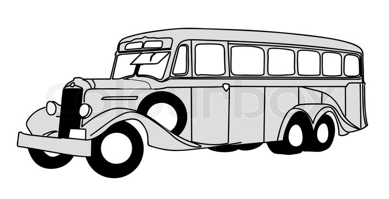 retro bus on white background  vector illustration stock Round Headlight Clip Art Bicycle with Headlight Clip Art