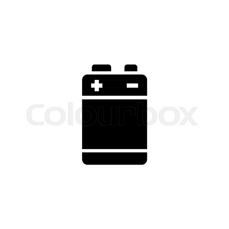 Alkaline Battery Flat Vector Icon Simple Black Symbol On White