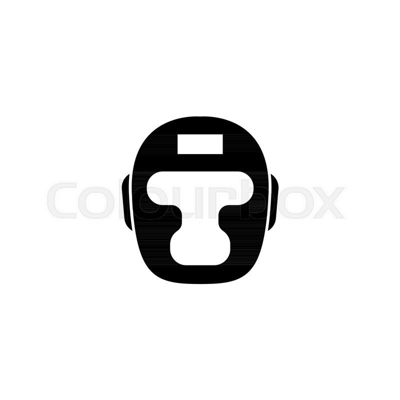 Boxing Headgear Taekwondo Helmet Flat Vector Icon Simple Black