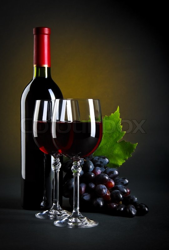 Stil-life with red wine on dark background | Stock Photo ...