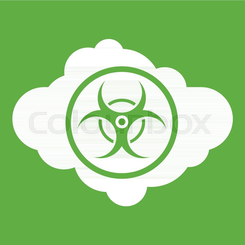 Cloud With Biohazard Symbol Icon White Isolated On Green Background