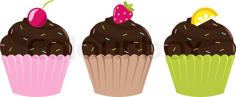 3 Birthday Set Cupcakes Isolated On White Background
