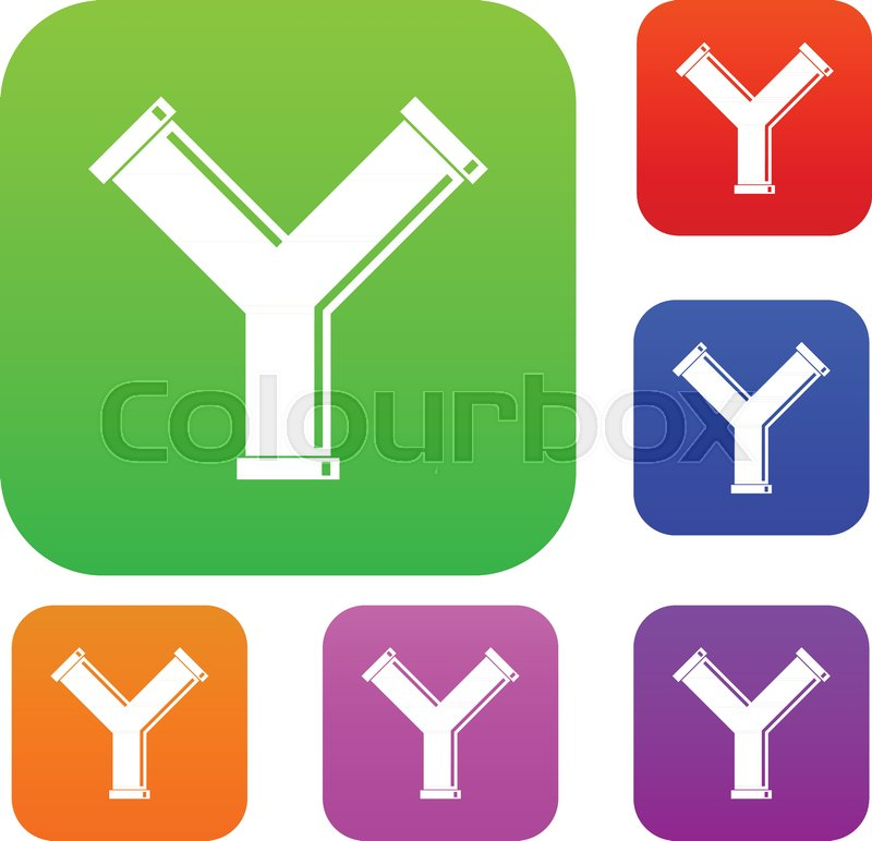 Joint pipe in form Y letter set icon       Stock vector   Colourbox