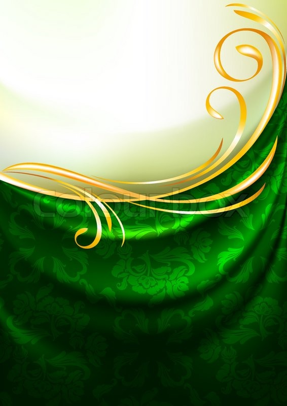 Green Fabric Drapes With Ornament Stock Vector
