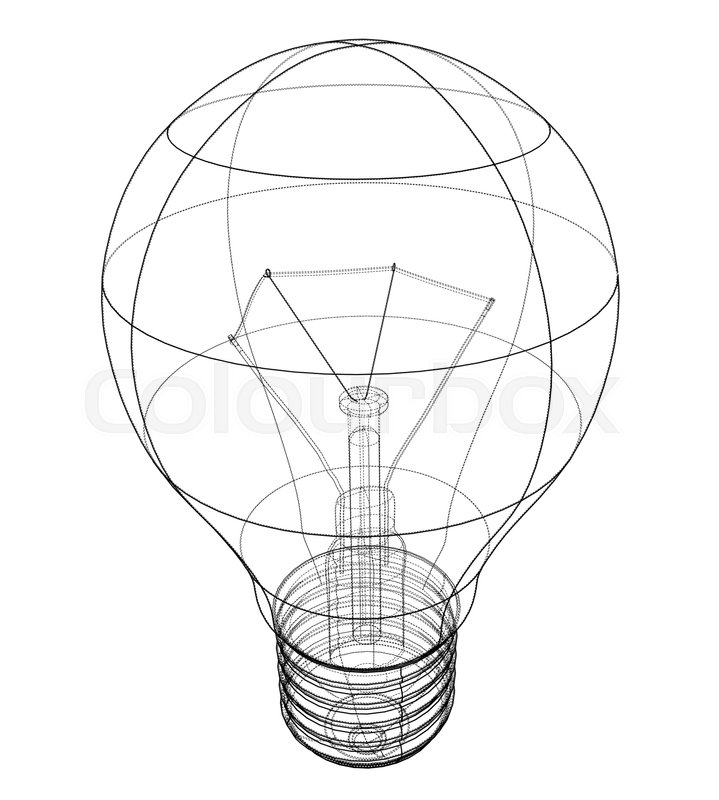 Outline Light Bulb Vector Rendering Of 3d Wire Frame Style The Layers Visible And Invisible Lines Are Separated
