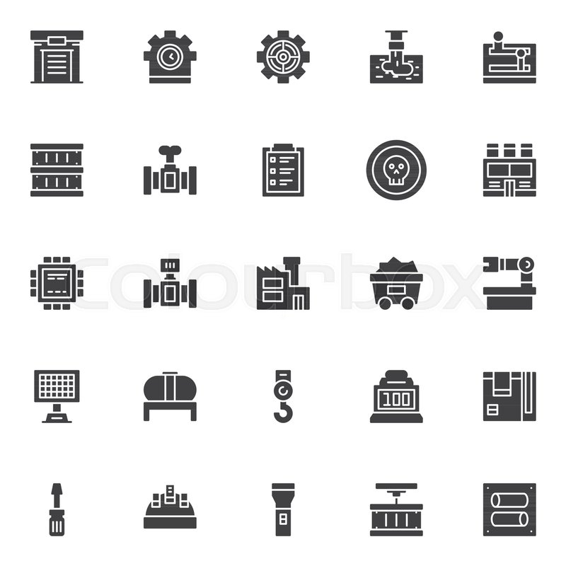 Industry Factory Vector Icons Set Modern Solid Symbol Collection