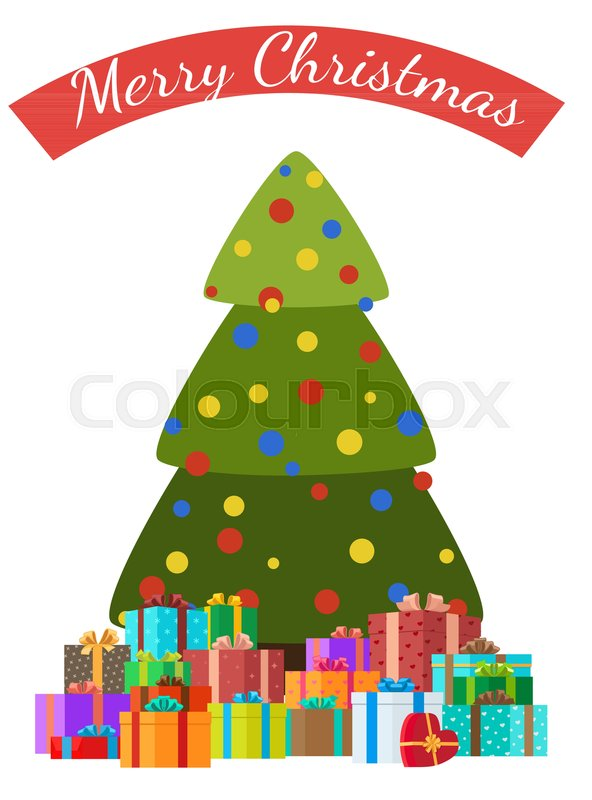 Merry Christmas Congratulations Card With Decorated Trees By Color