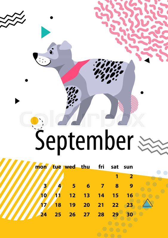 Calendar For September With Cute Pedigree Dog German Wirehaired