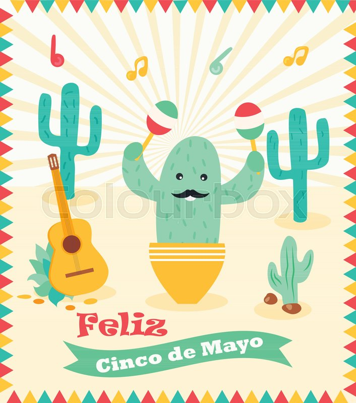 cinco de mayo poster template with bright cactus and symbols vector