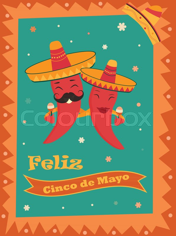 cinco de mayo poster template with bright mexican characters and