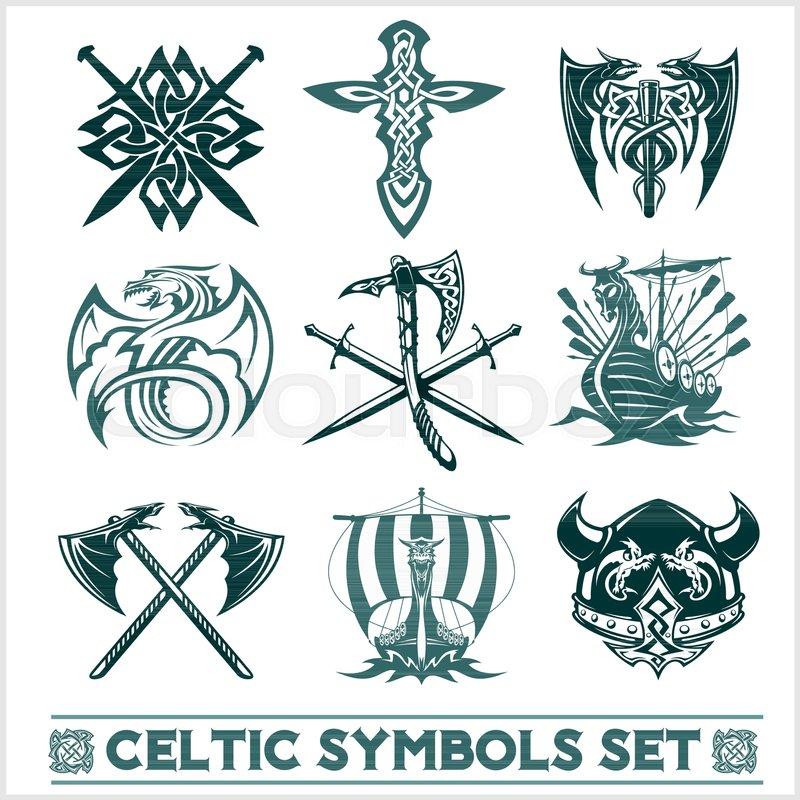 set of celtic symbols icons vector tattoo design set on white