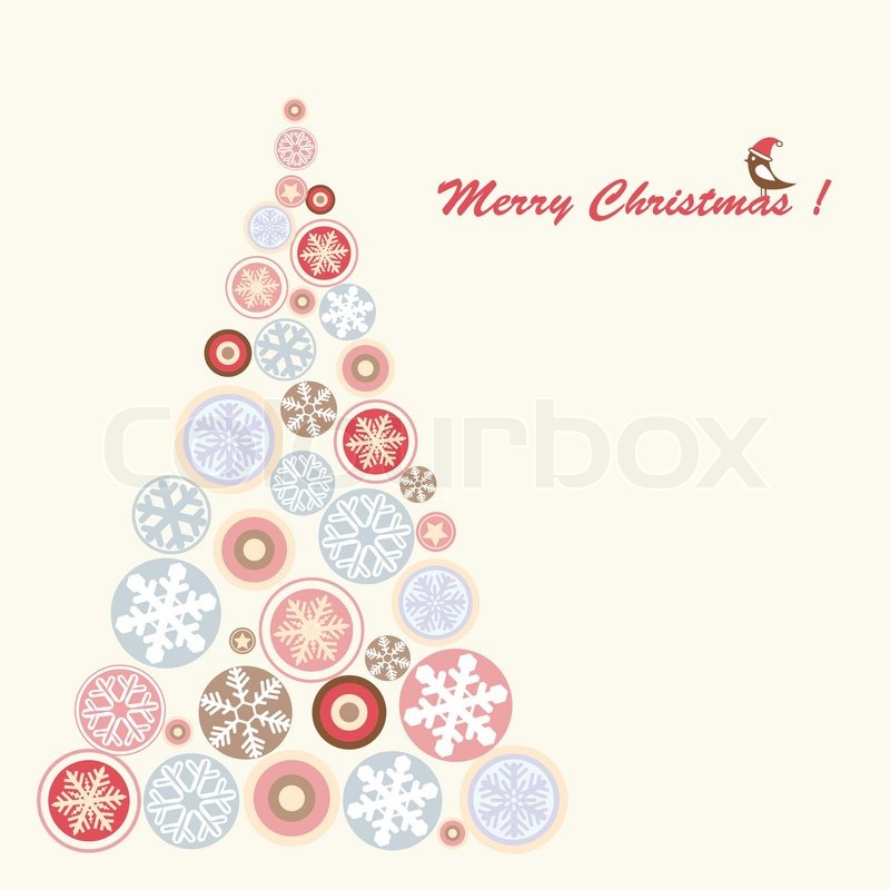 Abstract Christmas tree with snowflake vector illustration | Stock ...