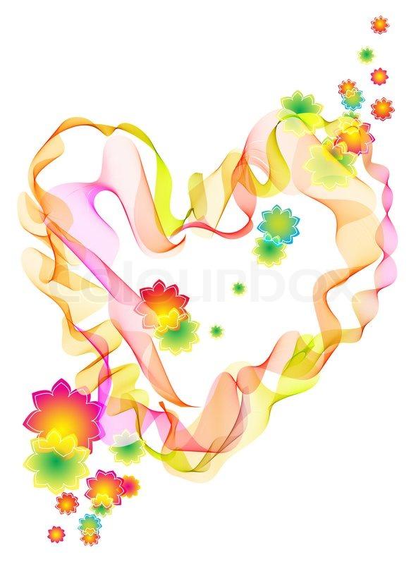 Hintergrund mit hellen abstrakte Herzen , Blumen und ...