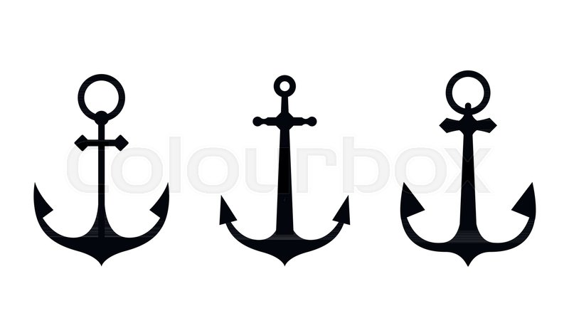 Anchor icons  A set of silhouettes of     | Stock vector