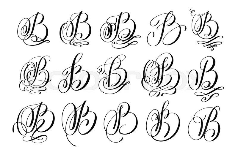 Calligraphy Lettering Script Font B Set Hand Written Signature Letter Design Vector Illustration
