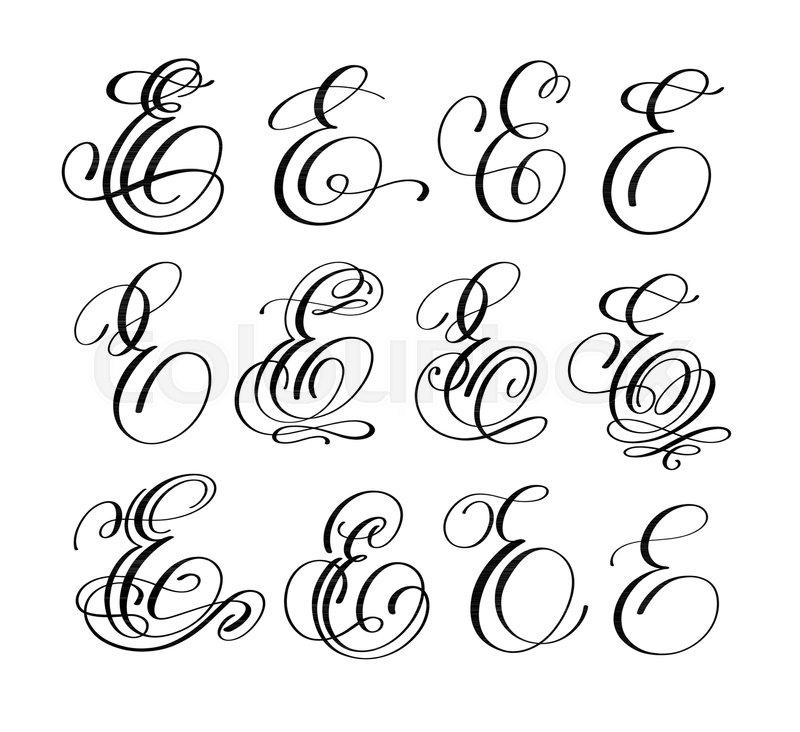 Calligraphy Lettering Script Font E Stock Vector Colourbox
