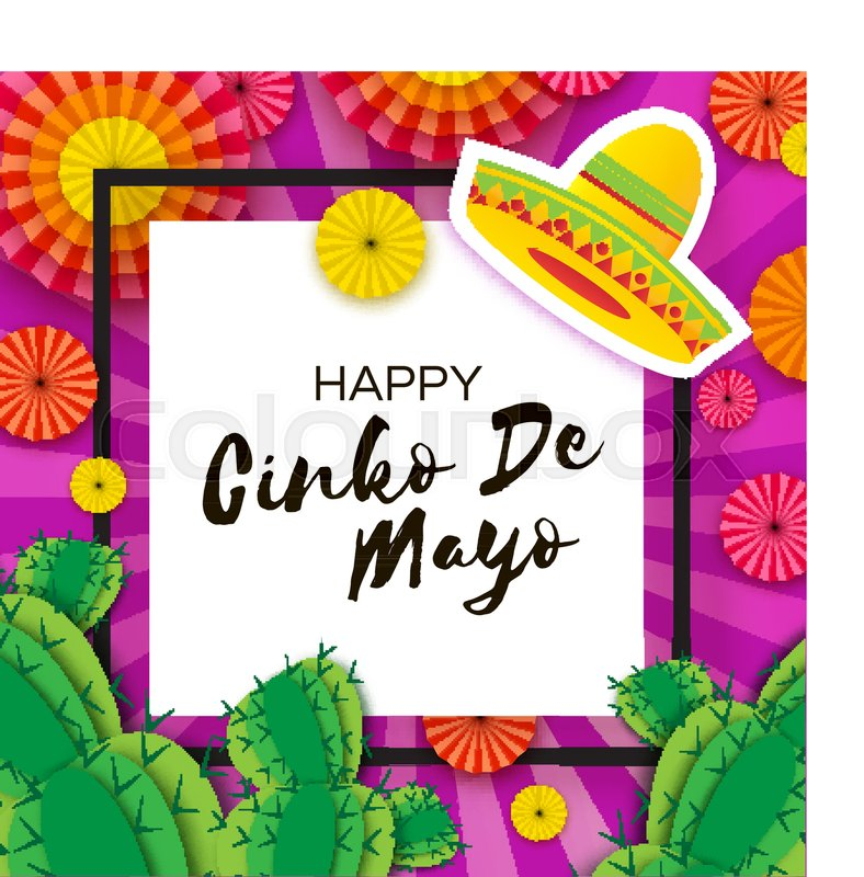 Happy cinco de mayo greeting card colorful paper fan and cactus in happy cinco de mayo greeting card colorful paper fan and cactus in paper cut style origami sombrero hat mexico carnival square frame on purple m4hsunfo