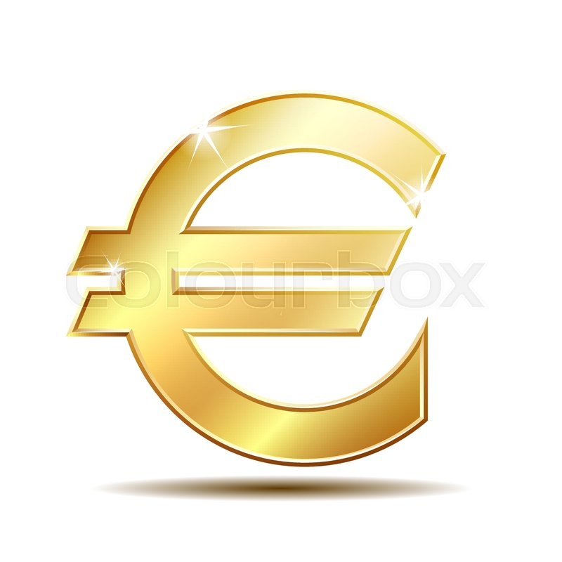 Gold Sign Euro Currency Concept Of Investment European Market