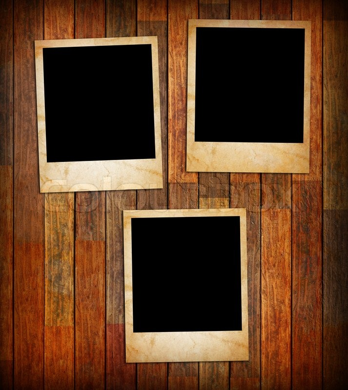 Grunge vintage photo frames on a wood texture background | Stock ...