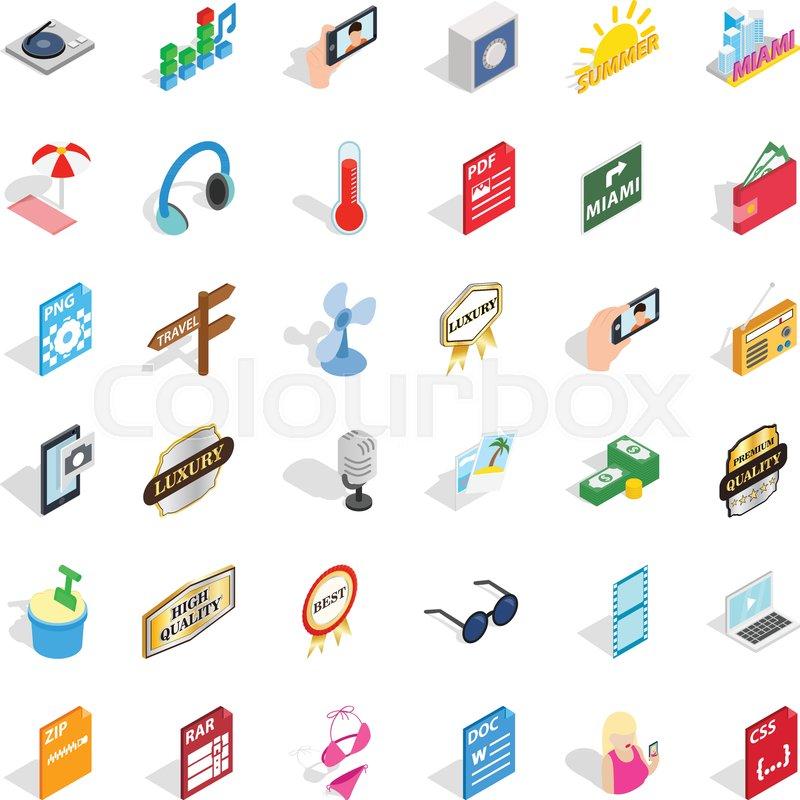 Dj icons set  Isometric style of 36 dj     | Stock vector | Colourbox
