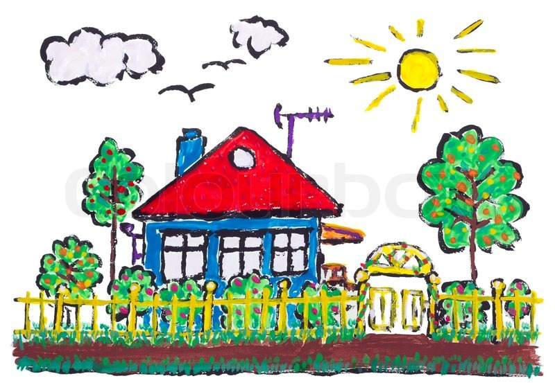 Painted Village Home Landscape Children Drawing Stock