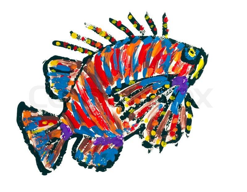 Kids Painted Fish Fische abstrakte gemal...