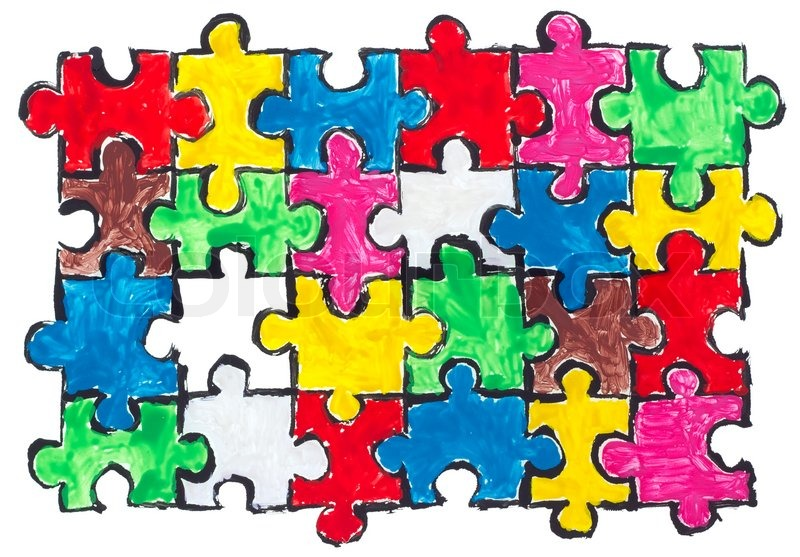 Painted Isolated Abstract Puzzles Concept Background