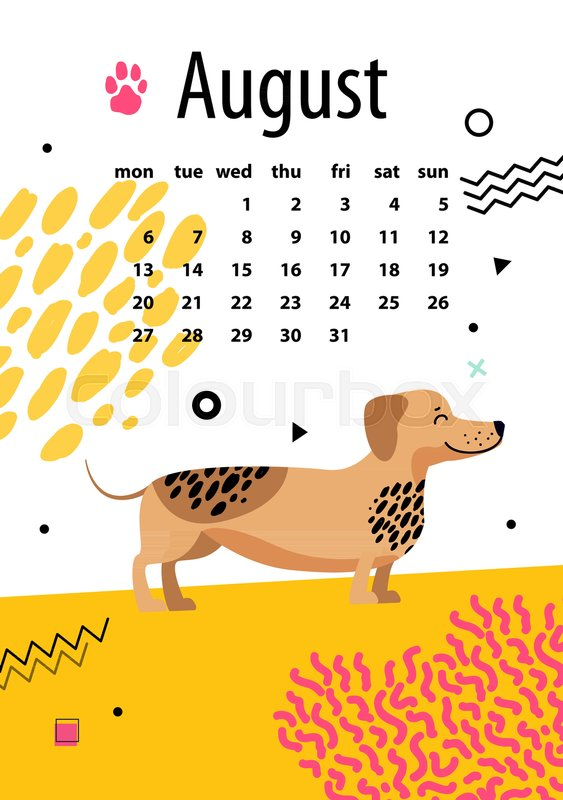 August Calendar For 2018 Year With Funny Dachshund That Has Black