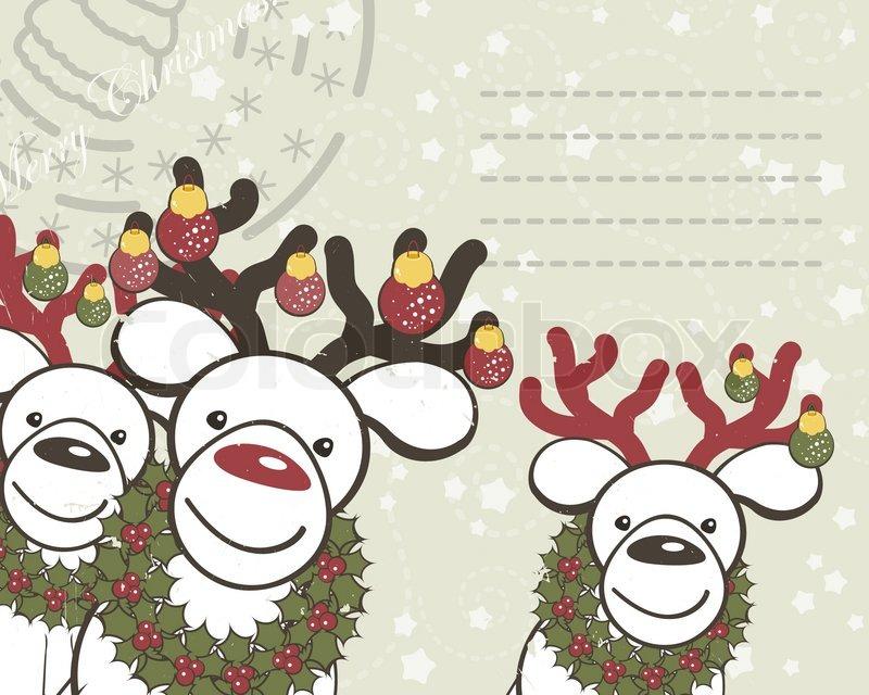 weihnachten hintergrund mit lustige rentiere santa claus. Black Bedroom Furniture Sets. Home Design Ideas
